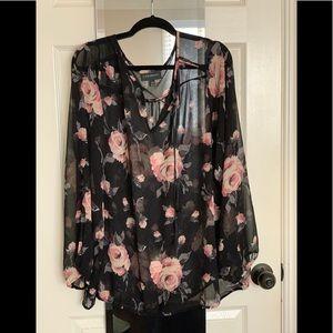 Women's Plus Sized Sheer Blouse - Rose Print